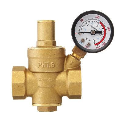 34 Dn20 Adjustable Brass Water Pressure Reducing Valve With Gauge Regulator