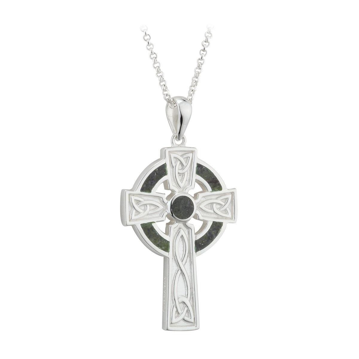 connemara marble celtic cross necklace sterling silver men. Black Bedroom Furniture Sets. Home Design Ideas
