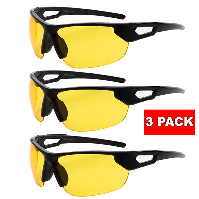 3 PAIRS HD NIGHT or DAY TIME BLUE BLOCKER Sunglasses Wrap Driving glasses (Night Time Sunglasses)