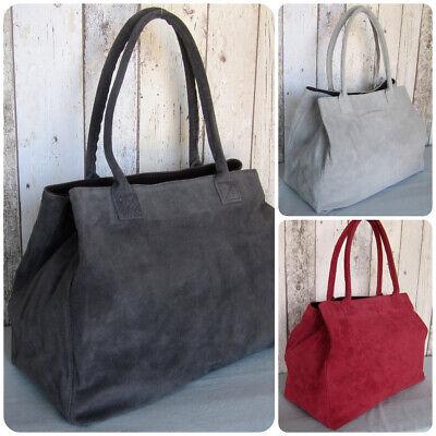 Designer Tasche (Handtasche Tasche Shopper Wildleder Rauleder echtes Leder Italy-Design)