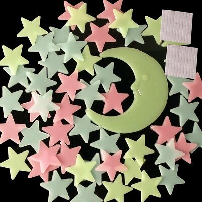 Glow in the Dark Star and Moon Set Sticker With Stick Pad For Wall Ceiling