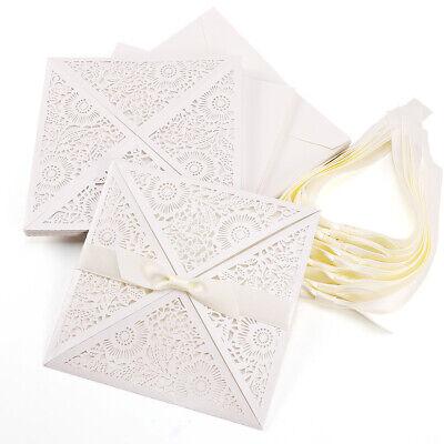 10 x Spitze Einladungskarten Grußkarten+ leere Karte + Umschlag Hochzeit Deko