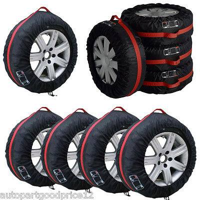 4Pcs 16 22 Car Spare Tyre Tire Protection Cover Carry Tote Handle Storage Bags
