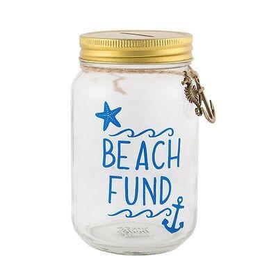 Nautical Piggy Bank (Sass & Belle Beach Fun Glass Jar Money Pot Nautical Savings Piggy Bank Holiday)
