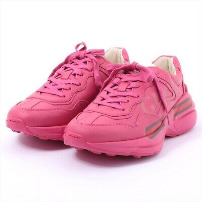 Gucci Vintage Logo Leather Sneakers 38 Women's Pink Lighton