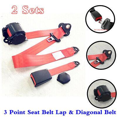 Car Seat Belt 3 Point Lap & Diagonal Seatbelt Retractable Safety Straps 2 Sets