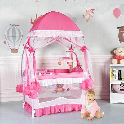 Baby Crib Bassinet Nursery Furniture Infant Portable Bed Newborn Pink Playpen