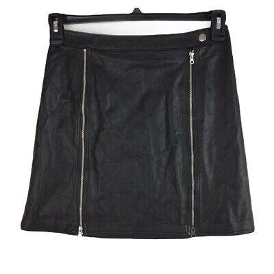 J Brand Women 100% Lamb Leather Moto Zip Claret Skirt Soft Size Small Black $548