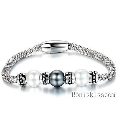 Women's Stainless Steel Mesh Chain Bracelet Magnetic Clasp w Manmade Pearl (Mesh Stainless Steel Bracelet)