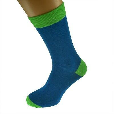 Blue Mens Socks withLime Green heal and toes, popular Wedding Day Socks...