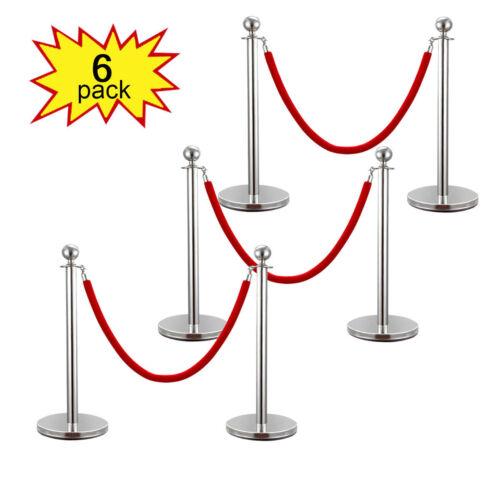 6PCS Velvet Rope Stanchion Silver Post Crowd Control Queue Line Barrier