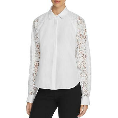 DKNY Womens White Lace Velvet Cape Button-Down Top Blouse L BHFO 9025