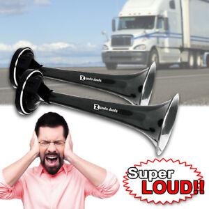 Zento Deals 12V 115DB  Car Truck Train Boat Super Loud Dual Trumpet Air Horn Kit