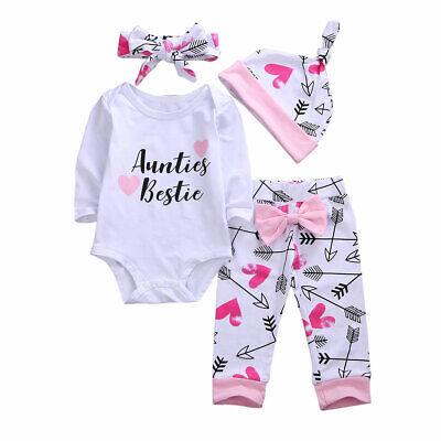 Newborn Baby Girls 3pcs Outfit Set Auntie's Bestie Romper+Pants Clothing Set