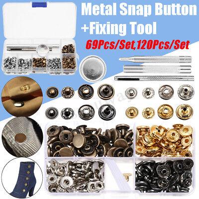 Metal Snap Button Press Stud Leather Bag Clothes Popper Fastener Fixing Tool Kit Metal Stud Fastener Kit