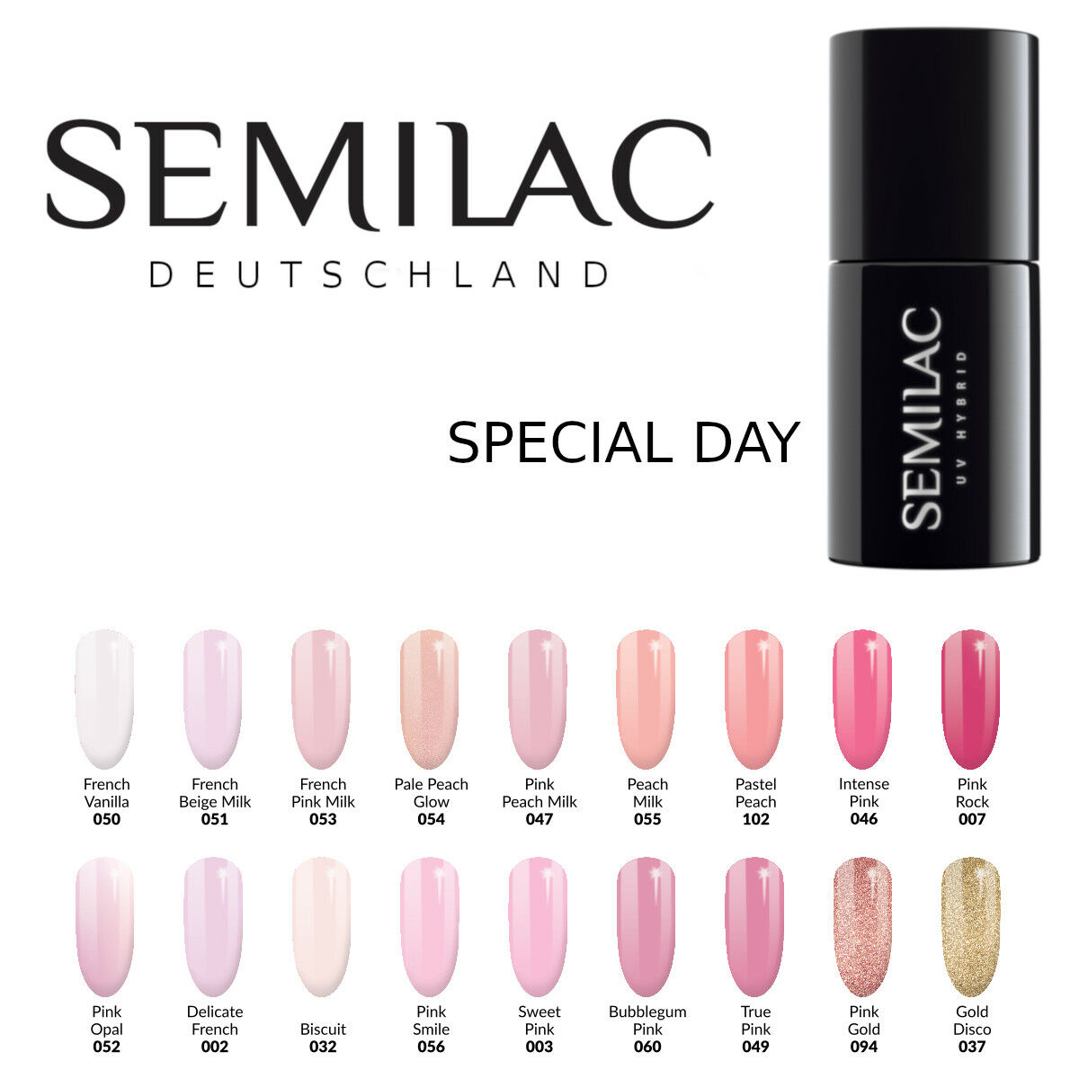 Semilac UV LED Nagellack 7ml , Gel Polish, UV Hybrid, French manicure