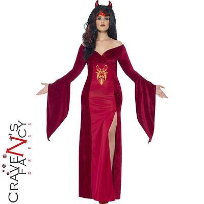 Ladies Curves Devil Costume Witch Sorceress Halloween Fancy Dress Plus Size New