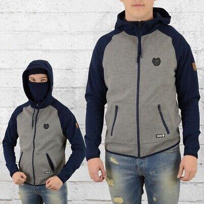 PG Wear Ninja Kapuzen-Jacke Full Face Hoody Hooligans grau blau Maske (Kapuzen Maske)