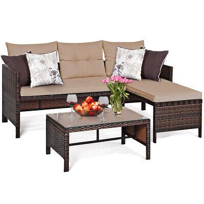 3 PCS Patio Wicker Rattan Sofa Set Sectional Conversation Furniture Set Outdoor