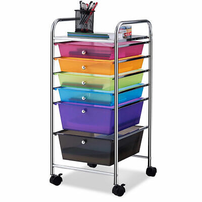 (6 Drawer Rolling Storage Cart Tools Scrapbook Paper Office School Organizer New)