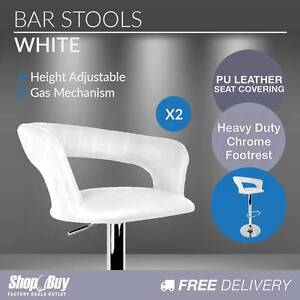 Free Delivery: 2 x White PU Leather Modern Bar Stool Kitchen Off Box Hill Whitehorse Area Preview