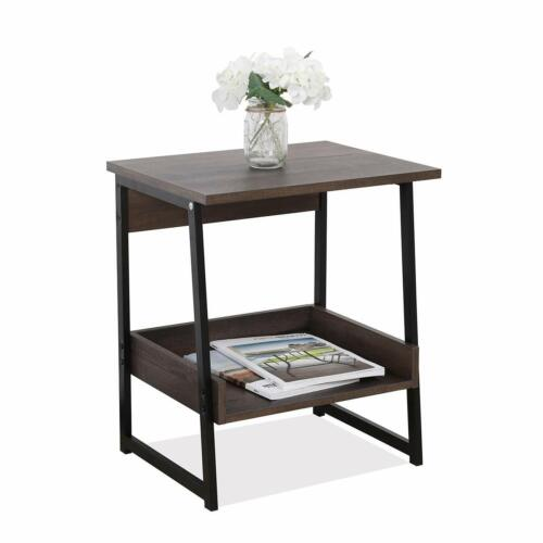 2-Tier End Table, Living Room Night Stand Wood Side Table with Storage 3