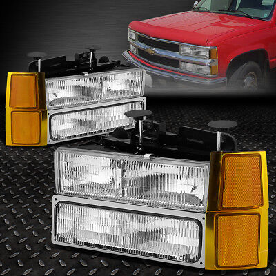 FOR 1994-1999 CHEVY C/K PICKUP OE CHROME HOUSING HEADLIGHT+CLEAR SIGNAL LAMP