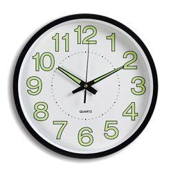 12'' Wall Clock Glow In The Dark Silent Quartz Indoor/Outdoor Black Noctilucent