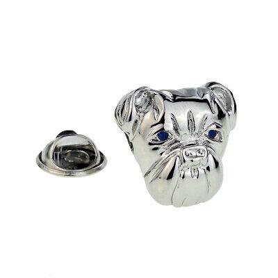 Blue Eyes Bulldog Head Lapel Pin Badge X2AJTP098 Bulldog Head Lapel Pin