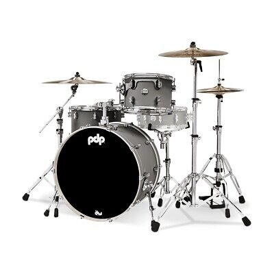 PDP PDCM24RKSP Concept Maple Rock Kit 3-Piece Drum Set Shell Pack, Satin Pewter