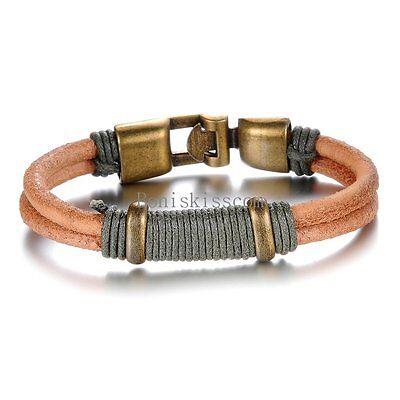 Brown Leather Cord Bracelet - Vintage Style Double Brown Leather Cord Strap Bracelet Wristband for Men Women
