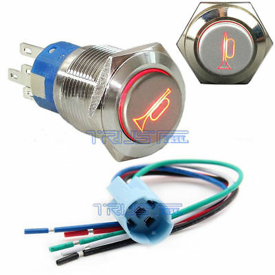 Socket Plug+12V 16mm Momentary RED LED Marine Car  Horn Push Button Light Switch