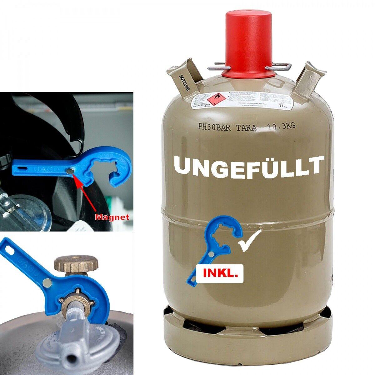 11kg Gas-Flasche Propan-Gas Grill Gas-Kocher Camping inkl. Gasregler-Schlüssel