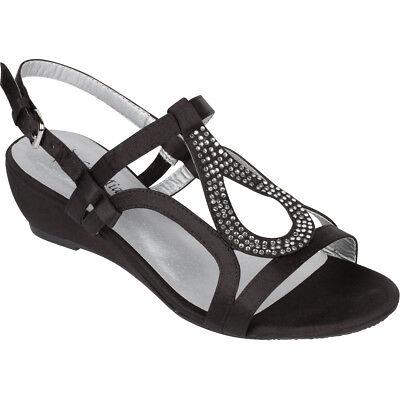 Black Dress Shoes Low Heel Wedge Sandals Wedding Rhinestone Open Toe Sol Mia