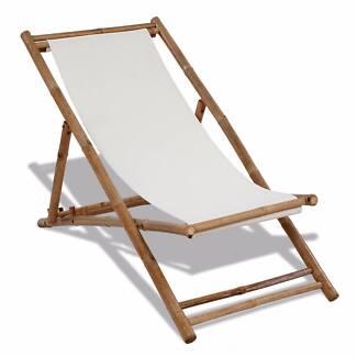 New Items- Deck Chair Bamboo and Canvas(SKU 41491)vidaXL