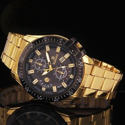 Luxury Mens Black Dial Gold Stainless Steel Date Quartz Analog Sport Wrist New