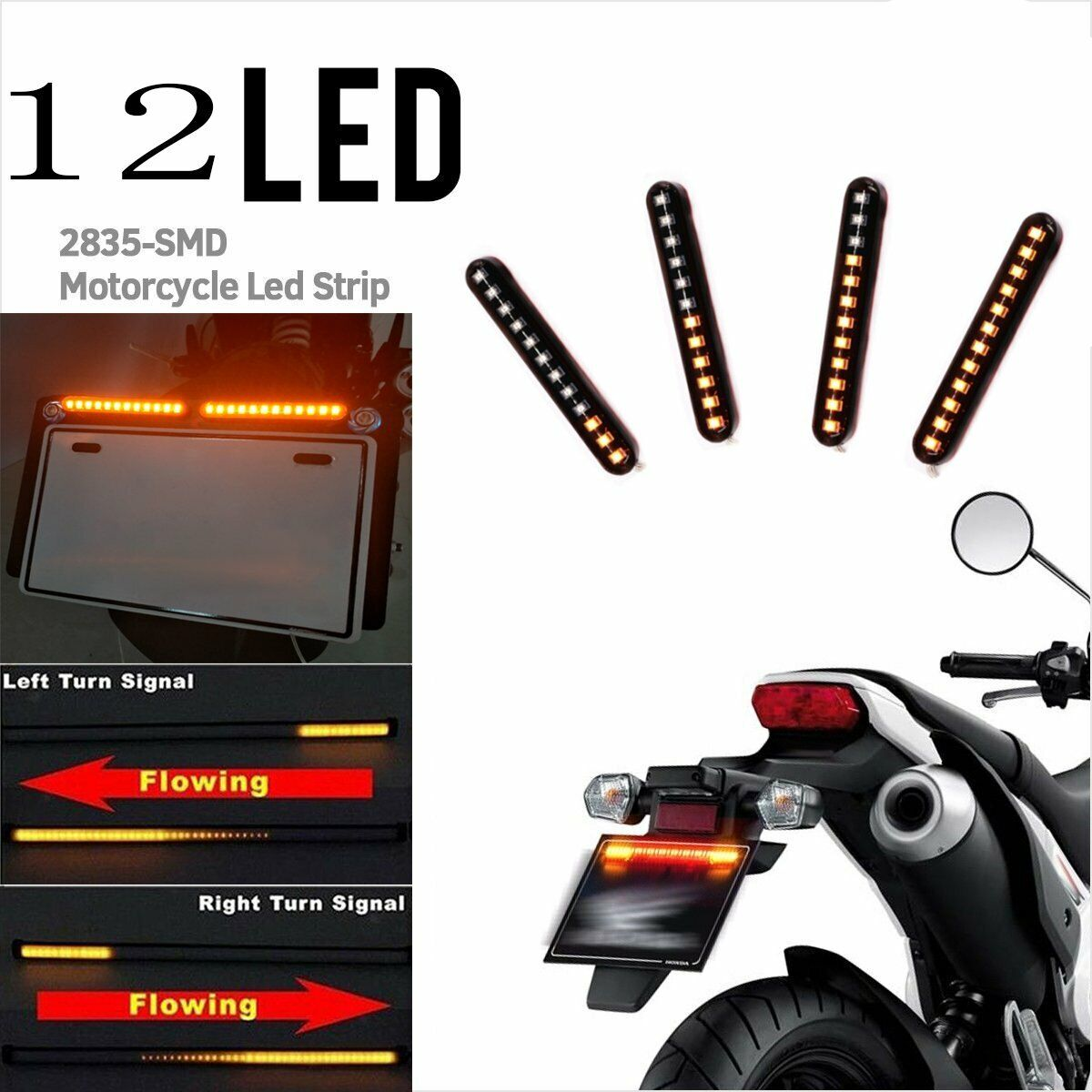 12 LED Sequential Flowing Strips Motorcycle Car Turn Signal Lights Amber 12V