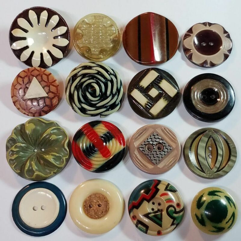 ANTIQUE/VINTAGE CELLULOID ART BUTTON LOT EXTRUDED PAINTED BUFFED GLOW LAMINATE