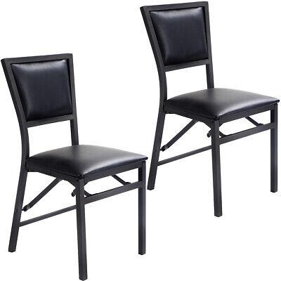 Set of 2 Folding Dining Chair High-Back Metal Frame Home Restaurant Furniture Metal Set Folding Chair