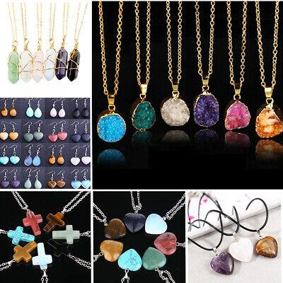 - Gemstone Pendant Cross Heart Necklace Natural Quartz Crystal Healing Stone