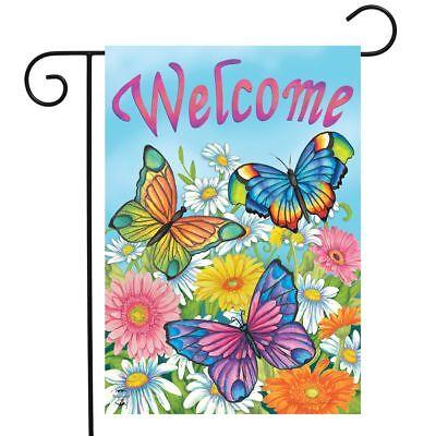 spring butterflies welcome garden flag floral 12