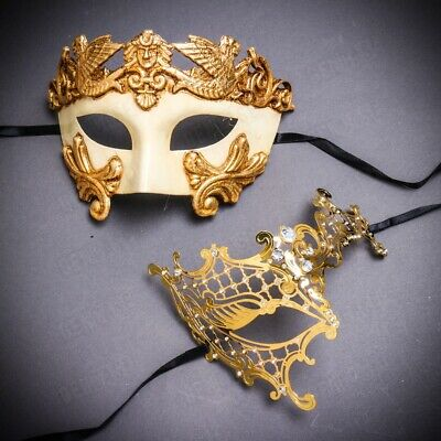 Gold Couple Men Women Masquerade Masks for Party Phantom of Opera Venetian Mask