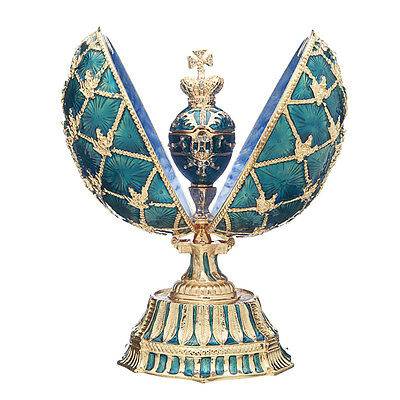 Faberge Egg with Russian Coat of Arms, Emperor's Crown & Clock 5.7'' 14.5cm blue for sale  Shipping to United States