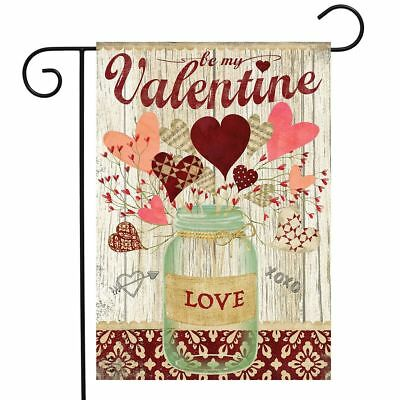 "Lovely Hearts Valentine's Day Garden Flag Mason Jar 2.5"" x 18"" Briarwood Lane"