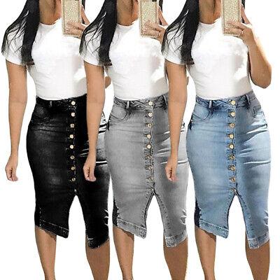 US Women Plus Size Slim Button Up Front Split Hip Pencil Midi Denim Jean - Plus Size Wench