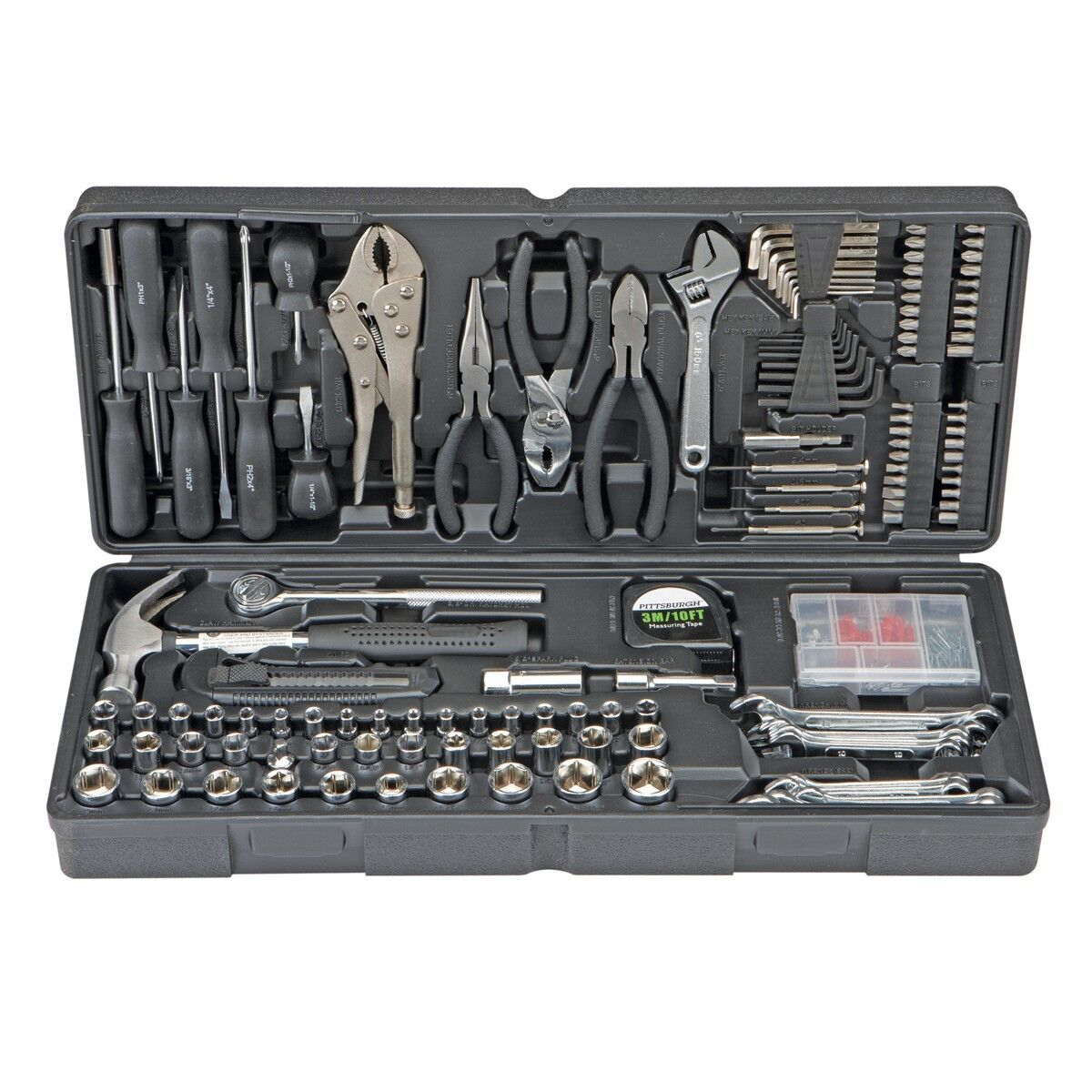 130 pc Tool Set & Case Auto Home Repair Kit SAE Metric LIFET