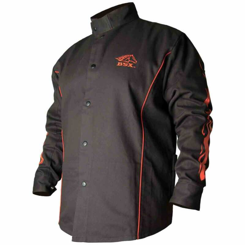 Black Stallion BX9C BSX Contoured FR Cotton Welding Jacket Black/Flames 4XL