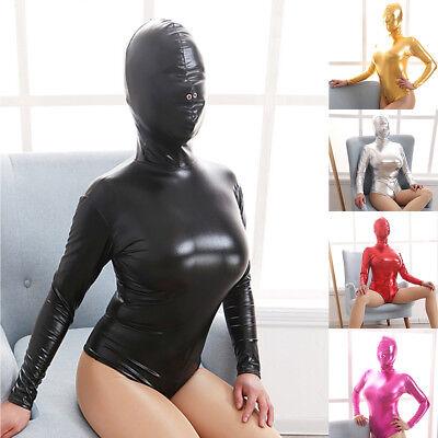 Women Latex Zipper Catsuit Full Body Suit PVC Wetlook Leather Clubwear Costume (Full Body Cat Suit)
