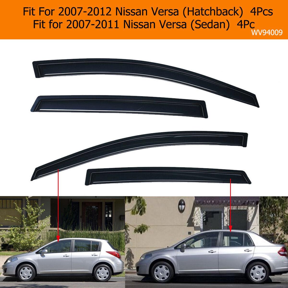 4pcs Visor Rain Guards Wind Deflector For Nissan Versa 2007-2011 4 Door Sedan