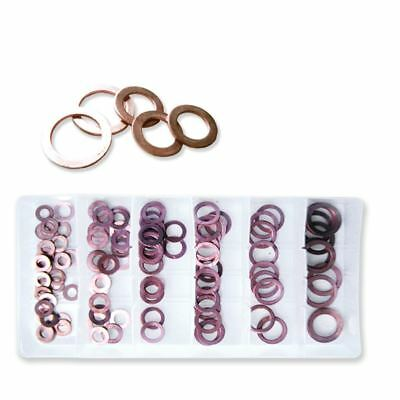 New 110pc Copper Flat Washer Ring Assortment Oil Brake Clutch Line Conductivity